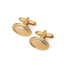 Engraved Edge Oval Cufflinks. Sterling Silver, Gold & Enamel Cufflinks from Aspinal of London