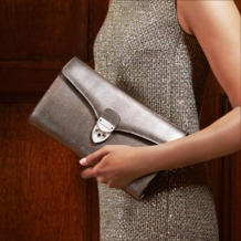 Manhattan Clutch in Black Deep Shine Croc. Evening & Clutches from Aspinal of London