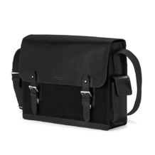 Large Shadow Messenger in Black Nubuck. Mens Messenger Bags from Aspinal of London