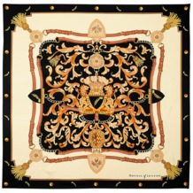 Aspinal Signature Shield Silk Scarf in Black. Ladies Silk Scarves from Aspinal of London