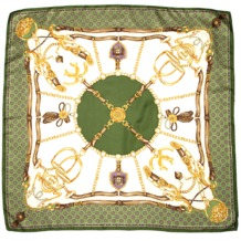 Silk Scarf with Green Horse Shoe & Stirrup. Ladies Silk Scarves from Aspinal of London