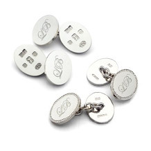 Engraved Cufflinks. Sterling Silver, Gold & Enamel Cufflinks from Aspinal of London
