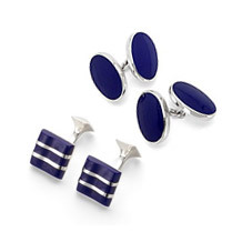Lapis Sterling Silver Cufflinks Range. Sterling Silver, Gold & Enamel Cufflinks from Aspinal of London