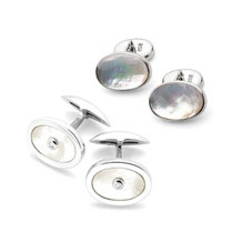Mother of Pearl Cufflinks Range. Sterling Silver, Gold & Enamel Cufflinks from Aspinal of London