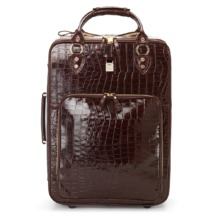 Large Cabin Case in Amazon Brown Croc. Ladies Travel Bags from Aspinal of London