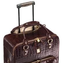 Large Cabin Case in Amazon Brown Croc. Mens Travel Bags from Aspinal of London