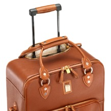 Large Cabin Case in Tan Pebble. Ladies Travel Bags from Aspinal of London
