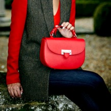 Letterbox Saddle Bag in Berry Pebble. Handbags & Clutches from Aspinal of London