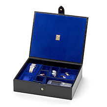 Gents Accessory Case. Leather Cufflink & Watch Boxes from Aspinal of London
