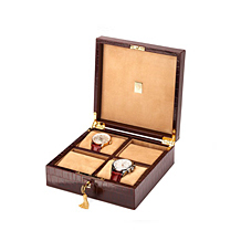 Square Four Watch Box. Leather Cufflink & Watch Boxes from Aspinal of London