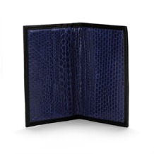 Exotic Double Credit Card Case in Black with Blue Snake. Business & Credit Card Holders from Aspinal of London