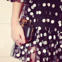 Padlock Clutch in Smooth Black. Handbags & Clutches from Aspinal of London