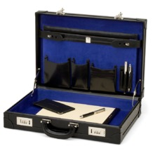 Attache Case in Smooth Black & Cobalt Blue Suede. Attache Cases from Aspinal of London