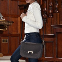 Slouchy Saddle Bag in Berry Pebble. Handbags & Clutches from Aspinal of London