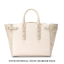 Large Marylebone Tech Tote in Ivory Saffiano & Mouse Python. Handbags & Clutches from Aspinal of London