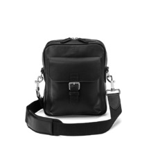 Small Harrison Messenger Bag in Smooth Black. Mens Messenger Bags from Aspinal of London