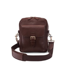 Small Harrison Messenger Bag in Smooth Chocolate. Mens Messenger Bags from Aspinal of London