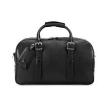 Small Harrison Weekender Travel Bag in Smooth Black. Mens Travel Bags from Aspinal of London