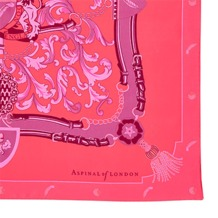 Aspinal Signature Shield Silk Scarf in Neon Pink. Ladies Silk Scarves from Aspinal of London