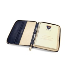 A5 Zipped Padfolio in Midnight Blue Lizard & Cream Suede. Leather Portfolios & Padfolios from Aspinal of London