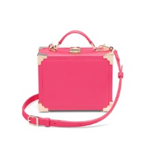 Mini Trunk Clutch in Smooth Neon Pink. Handbags & Clutches from Aspinal of London