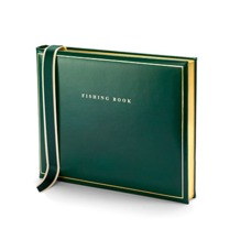 Classic Fishing Book in British Racing Green. Leather Fishing Books from Aspinal of London