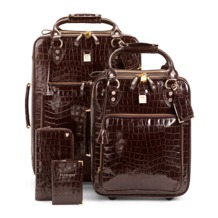 Candy Case Collection in Amazon Brown Croc. Ladies Travel Bags from Aspinal of London