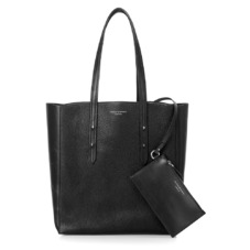 Aspinal Essential Tote in Black Pebble & Smooth Black. Handbags & Clutches from Aspinal of London