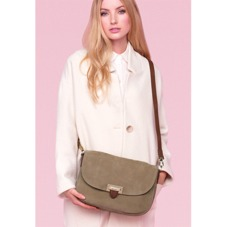 Slouchy Saddle Bag in Fog Nubuck & Smooth Tan. Handbags & Clutches from Aspinal of London