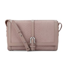 Shoulder Buckle Bag in Nude Nubuck Python. Handbags & Clutches from Aspinal of London