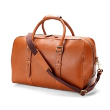 Large Harrison Weekender Travel Bag in Smooth Tan. Mens Travel Bags from Aspinal of London