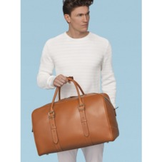 Large Harrison Weekender Travel Bag in Smooth Chocolate Brown. Mens Travel Bags from Aspinal of London