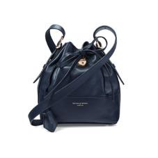 Mini Padlock Bucket Bag in Smooth Navy Nappa. Handbags & Clutches from Aspinal of London
