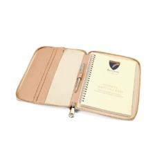 A5 Zipped Padfolio in Deer Saffiano & Cream Suede. Leather Portfolios & Padfolios from Aspinal of London