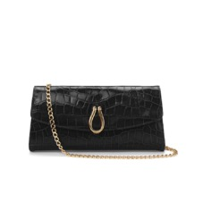 Eaton Clutch with Chain in Black Croc. Evening & Clutches from Aspinal of London