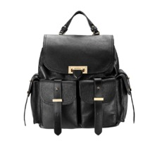 Letterbox Rucksack in Black Pebble & Smooth Black. Handbags & Clutches from Aspinal of London