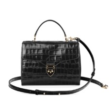 Mayfair Bag in Black Deep Shine Croc. Handbags & Clutches from Aspinal of London