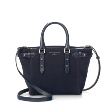 Mini Marylebone Tote in Navy Nubuck. Handbags & Clutches from Aspinal of London