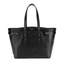 Marylebone Light in Black Pebble. Handbags & Clutches from Aspinal of London