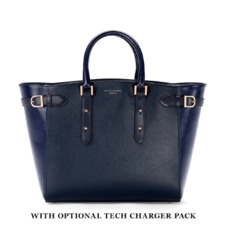 Large Marylebone Tech Tote in Navy Pebble & Navy Lizard. Handbags & Clutches from Aspinal of London
