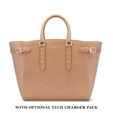 Large Marylebone Tech Tote in Deer Nubuck Python. Handbags & Clutches from Aspinal of London