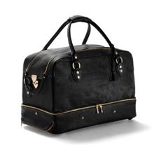 Portofino Rolling Cabin Bag in Black Calfskin & Black Haircalf. Mens Travel Bags from Aspinal of London