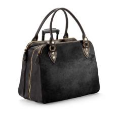 Buffalo Cabin Bag in Black Calfskin with Black Haircalf. Mens Travel Bags from Aspinal of London