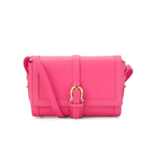 Mini Shoulder Buckle Bag in Smooth Neon Pink. Handbags & Clutches from Aspinal of London