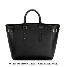 Large Marylebone Tech Tote in Black Pebble & Black Python. Handbags & Clutches from Aspinal of London