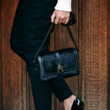 Mini Shoulder Buckle Bag in Black Nubuck. Evening & Clutches from Aspinal of London