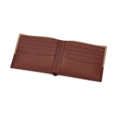 Shadow Billfold Wallet in Fog Nubuck & Smooth Tan. Leather Billfold Wallets from Aspinal of London