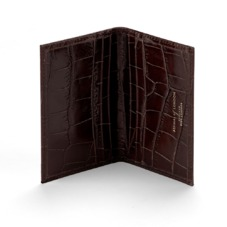 Double Fold Credit Card Case in Amazon Brown Croc. Business & Credit Card Holders from Aspinal of London