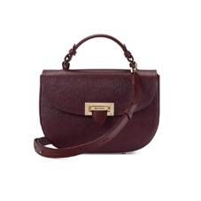 Letterbox Saddle Bag in Burgundy Saffiano. Handbags & Clutches from Aspinal of London