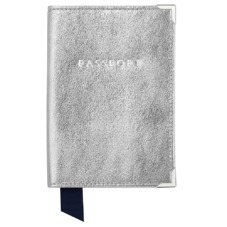 Plain Passport Cover in Smooth Silver & Navy Suede. Leather Passport Covers from Aspinal of London